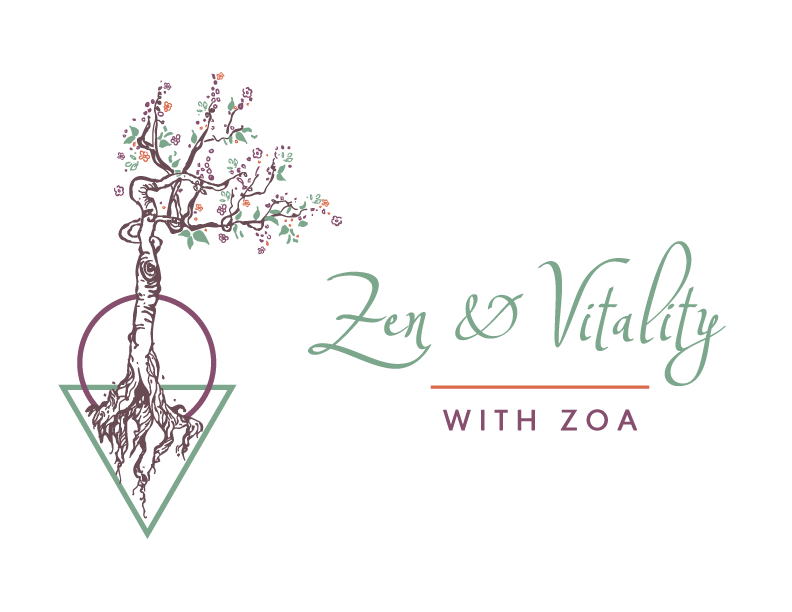 Logo for Zen and Vitality with Zoa which looks like a flowering cherry tree