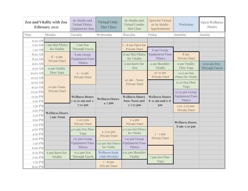 Feb 2021 Class Schedule