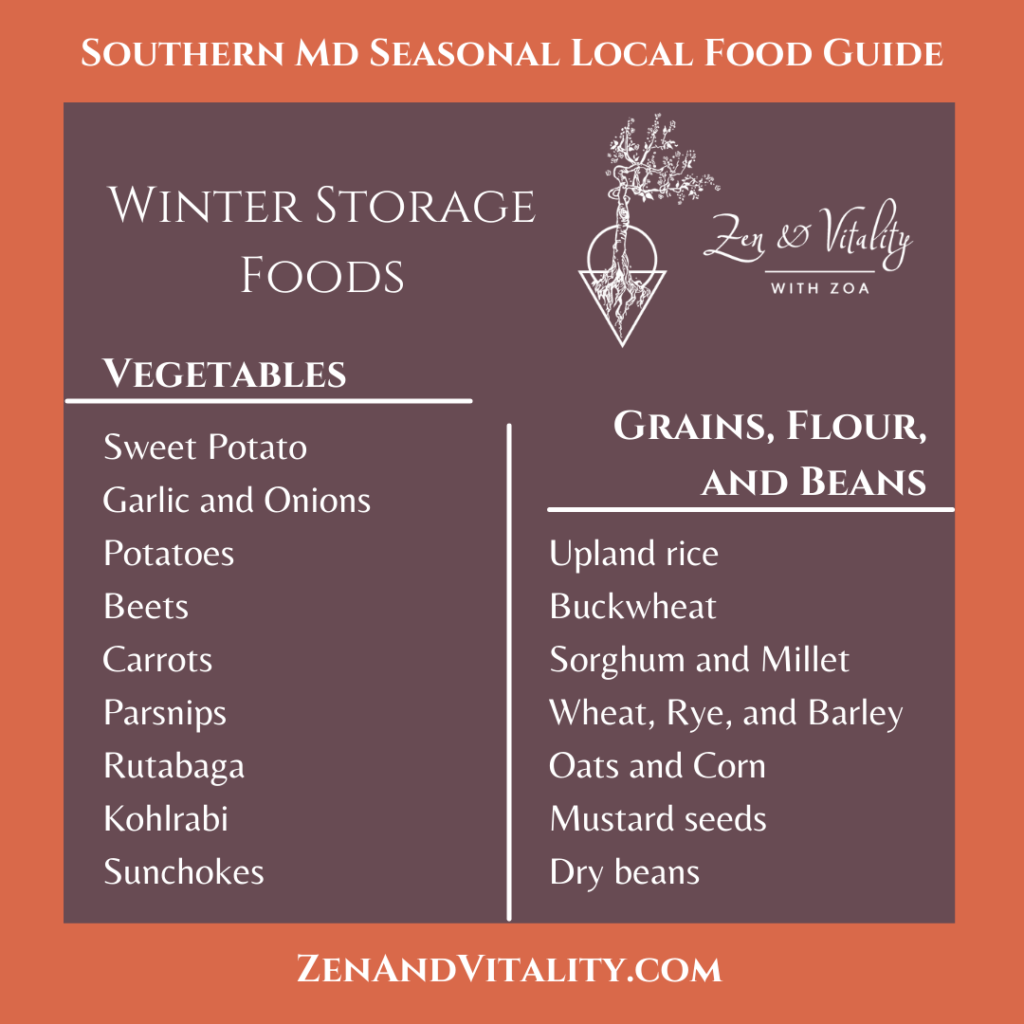 Storage Foods available in Maryland all Winter