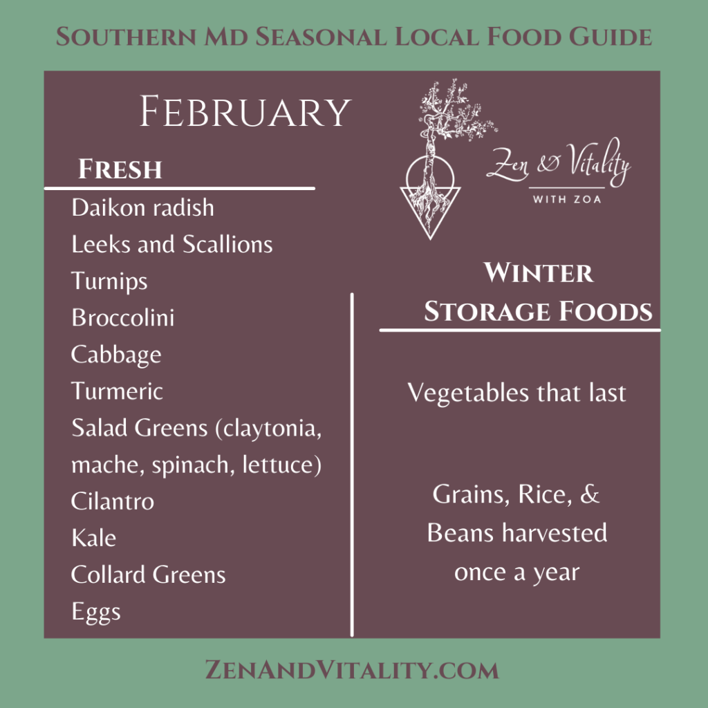 Fresh Foods grown in Maryland in February