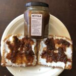 Sourdough Bread toasted and spread with chevre and fig jam