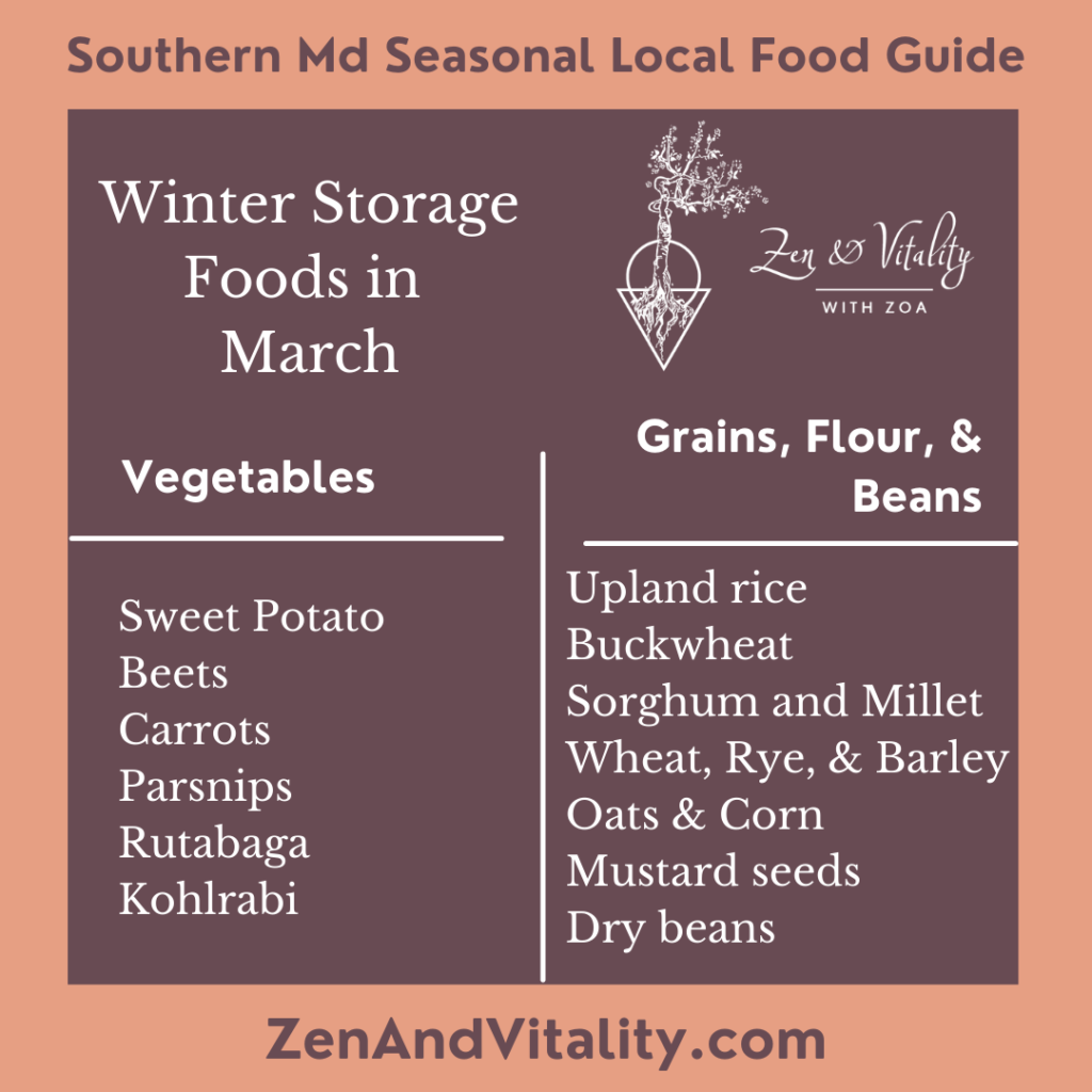 Winter Storage Foods available in March in Maryland