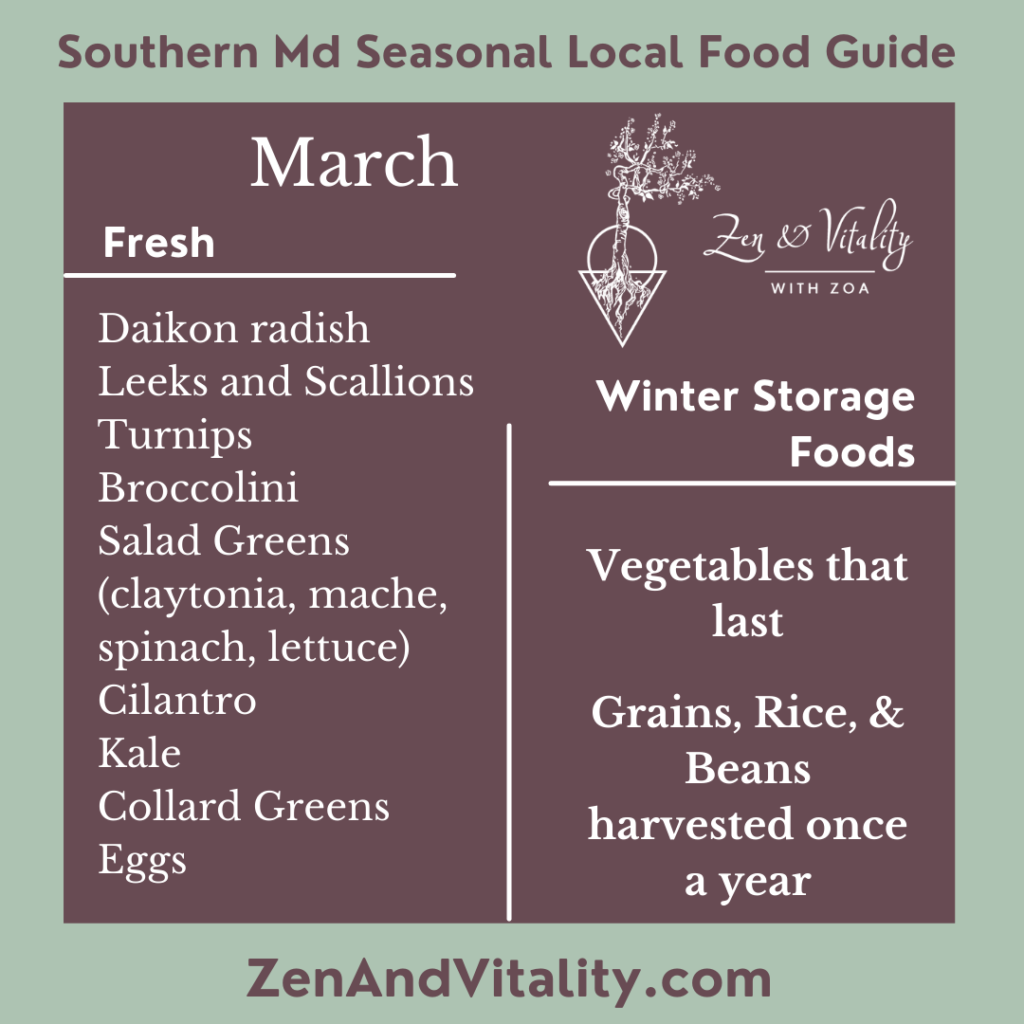 Fresh Seasonal Foods available in Maryland in March