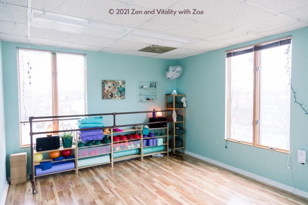 Movement room for yoga, mat pilates, fascial movement, barre, and exploration!