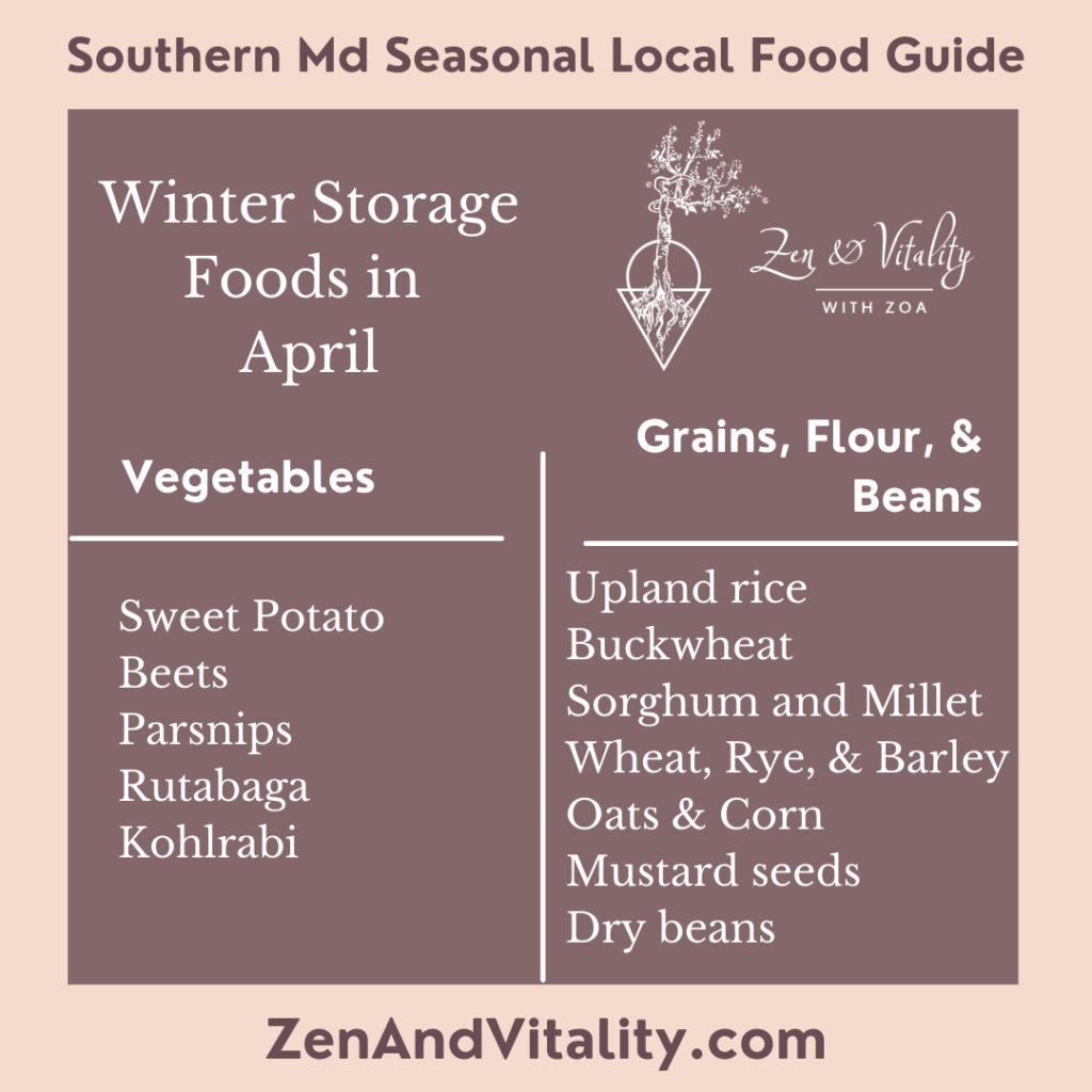 Storage Foods available in April in Maryland