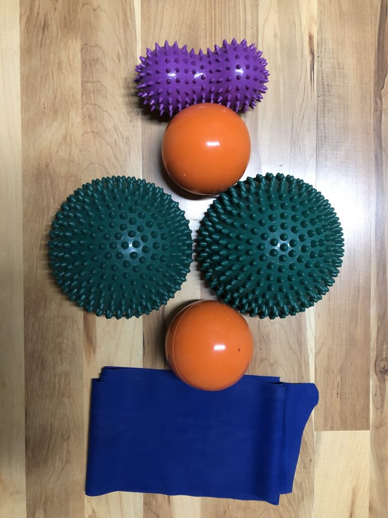 Rental props to facilitate stress release during fascial movement classes
