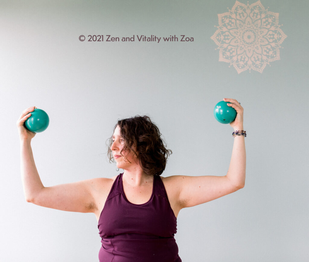 Zoa Conner, PhD adding to her upper body strength at Zen and Vitality with Zoa in La Plata, MD