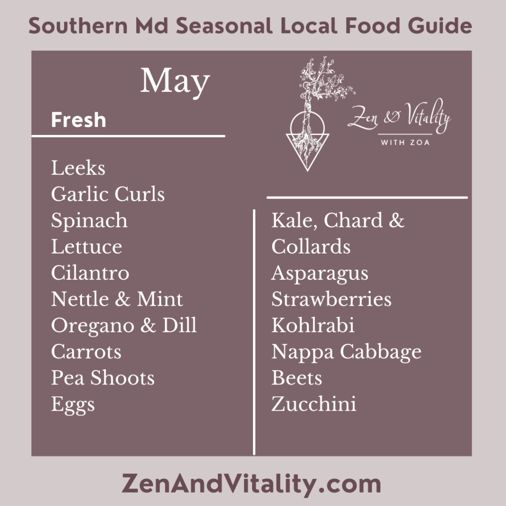 Fresh Seasonal Foods available in Maryland in May