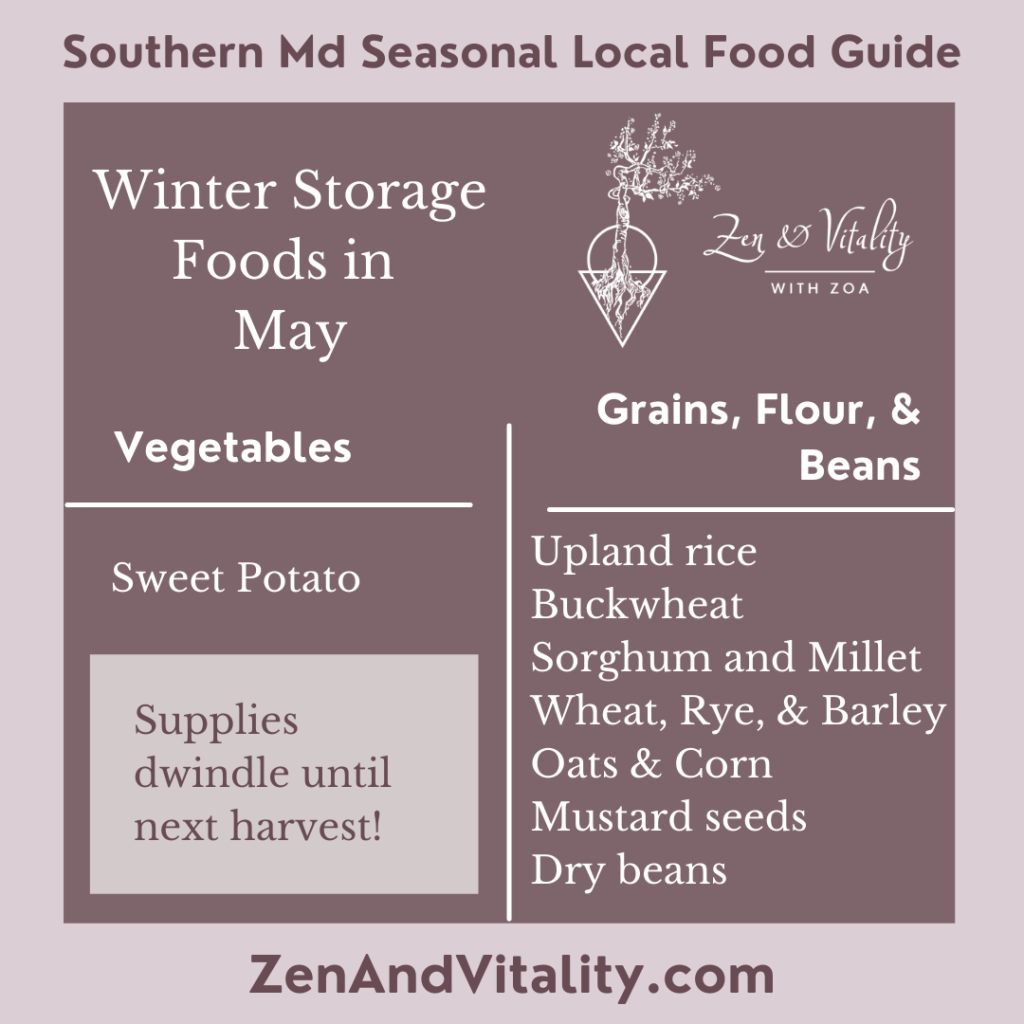 Storage Foods available in May in Maryland