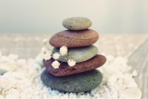 Rock cairn encourages a meditative mindset