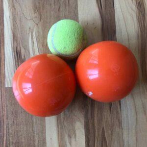 Soft orange balls from Franklin Method for fascial movement